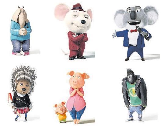 Elefantendame Meena, Jazz-Maus Mike, Theaterleiter Buster Moon, Stachelschwein Ash, Schweine-Mama Rosita und Jung-Gorilla Jonny Fotos: Universal Pictures Germany