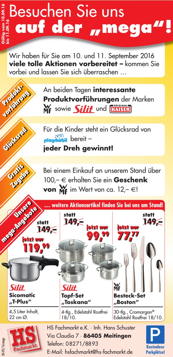HS Fachmarkt e.K. · Inh. Hans Schuster