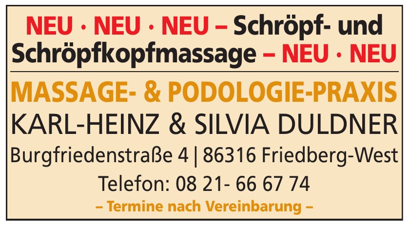 Massage- & Podologie-Praxis Karl-Heinz & Silvia Duldner